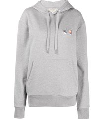 maison kitsuné double fox head patch hoodie - grey