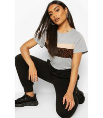 leopard colour block t-shirt, grey marl