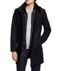 men's big & tall ted baker london funnel neck wool blend coat with inset bib, size 5 - blue