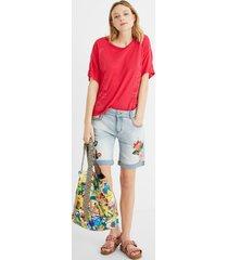 embroidered denim shorts - blue - 34