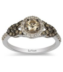 chocolate diamonds (1/2 ct. t.w.) and vanilla diamonds(1/5 ct. t.w.) ring in 14k white gold