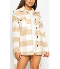 petite flannel belted wool look shacket, stone