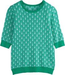 tröja med rund halsringning och kort ärm, i tvåfärgat jacquardmönster