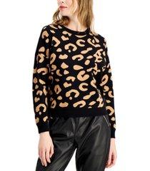 bar iii cheetah print sweater, created for macy's