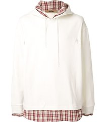 system check panel hoodie - white
