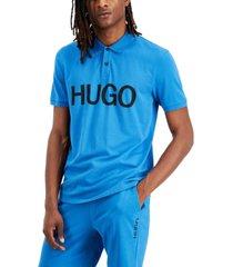 hugo hugo boss men's del regular-fit logo-print pique polo shirt, created for macy's