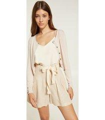 motivi shorts in lino cotone laminato donna beige