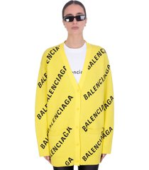 balenciaga cardigan in yellow cotton