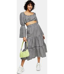 black and white gingham tiered skirt - monochrome