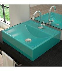 cuba para banheiro quadrada turquesa q39 - compace