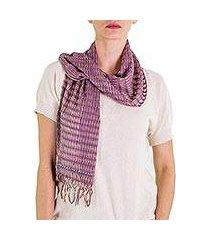 cotton scarf, 'subtle wisteria textiles' (guatemala)