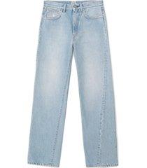 women's toteme twisted seam high waist straight leg crop jeans, size 28 - blue