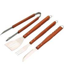jogo para churrasco mor, faca, garfo, pegador, espatúla