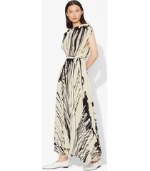 proenza schouler brush stroke print sleeveless pleated wrap dress ecru/black drape/neutrals 0