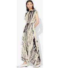 proenza schouler brush stroke print sleeveless pleated wrap dress ecru/black drape/neutrals 4