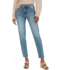 women's kut from the kloth naomi fab ab high waist crop slim straight leg jeans, size 00 - blue