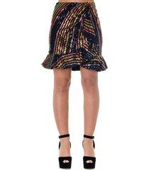 self-portrait multicolor sequined skirt