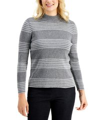 karen scott petite claire cotton striped ribbed mock-neck sweater, created for macy's