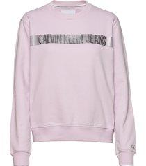 metallic stripe logo cn sweat-shirt tröja rosa calvin klein jeans