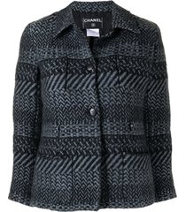chanel pre-owned woven buttoned jacket - blue