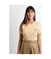 t-shirt feminina mindset coqueiros manga curta decote redondo bege