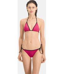 puma swim side-tie bikinibroekje voor dames, roze/aucun, maat xs