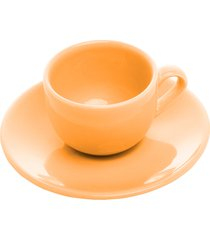 conjunto 6 xícaras cerâmica para café com pires alanya flame 125ml