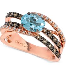 le vian aquamarine (9/10 ct. t.w.) & diamond (1/2 ct. t.w.) ring in 14k rose gold