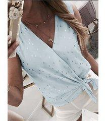 lazo de lunares diseño blusa sin mangas con cuello de pico