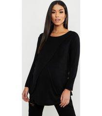 maternity long sleeved nursing top, black