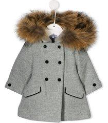 tartine et chocolat faux fur hooded textured coat - grey