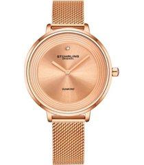 stuhrling women's rose gold mesh stainless steel bracelet watch 37mm