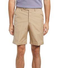 men's berle prime flat front poplin shorts, size 42 - beige