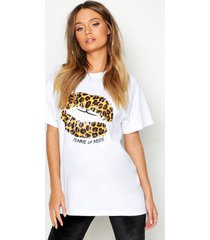 femme luipaardprint t-shirt met tekst en lippen, white