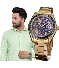 reloj winner automático hombre diseño skeleton – dorado con negro