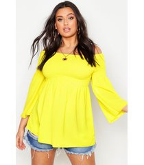 plus geplooide gesmokte off shoulder top, yellow