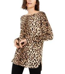 inc plus size animal-print shirttail-hem sweater, created for macy's