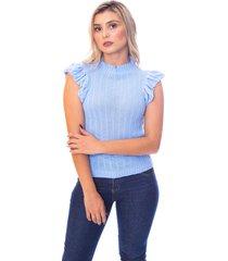 blusa moda vício trico regata com babado azul