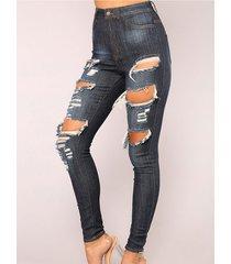 detalles rasgados al azar en azul cintura media jeans