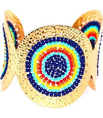 brazalete imperial baño oro tejido colores bijulovers