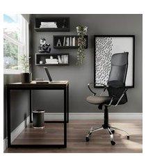 cadeira de escritório diretor giratória teslin ii com braços preta