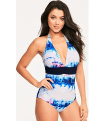 layla halterneck tummy control one-piece swimsuit