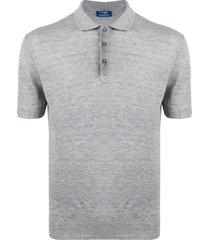 barba fine knit polo shirt - grey