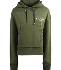 balmain short olive cotton sweatshirt