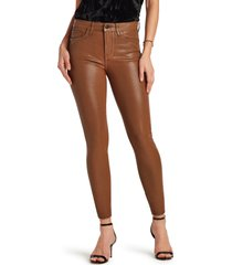 women's sam edelman the stiletto coated high waist raw hem ankle skinny jeans, size 24 - brown