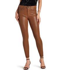 women's sam edelman the stiletto coated high waist raw hem ankle skinny jeans, size 28 - brown