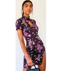 tall oriental dragon print mini dress, purple