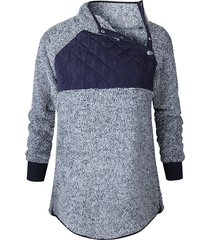 felpe casual da donna a collo alto con patchwork