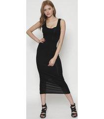 vestido unicolor sin manga midi negro 609seisceronueve