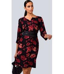 jurk alba moda rood::zwart